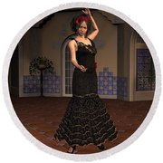 Flamenco Dancer Round Beach Towel