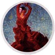 Flamenco Senorita Fuerza Round Beach Towel