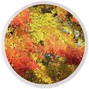 Flaming Autumn Leaves Art Round Beach Towel