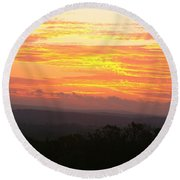 Flaming Autumn Sunrise Round Beach Towel