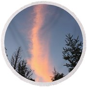 Flaming Clouds Round Beach Towel