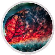 Flaming Fall Color Round Beach Towel