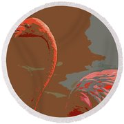 Flaming Flamingo-d  Round Beach Towel