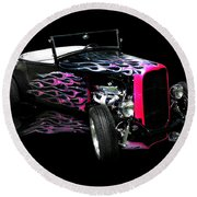 Flaming Hot Roadster  Round Beach Towel