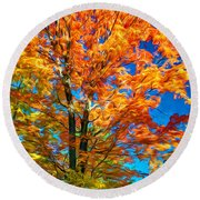 Flaming Maple - Paint Round Beach Towel