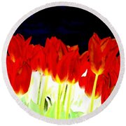 Flaming Red Tulips Round Beach Towel