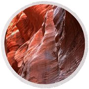 Flaming Walls Of Sandstone Round Beach Towel