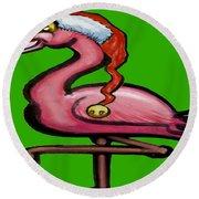 Flamingo Christmas Round Beach Towel