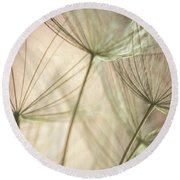 Flamingo Dandelions Round Beach Towel