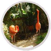 Flamingo Duo Round Beach Towel
