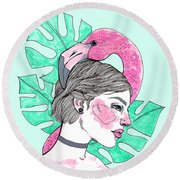 Flamingo Girl Round Beach Towel
