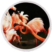 Flamingo Kisses Round Beach Towel
