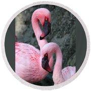 Flamingo Love Birds Round Beach Towel