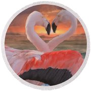 Flamingo Love Round Beach Towel