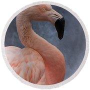Flamingo Profile Round Beach Towel