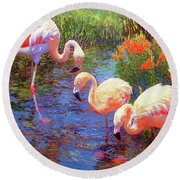 Flamingo Tangerine Dream Round Beach Towel