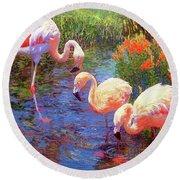 Flamingo Tangerine Dream Round Beach Towel