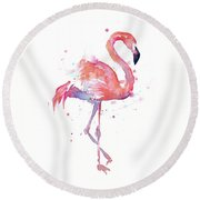 Flamingo Watercolor Facing Right Round Beach Towel