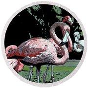 Flamingos I Round Beach Towel