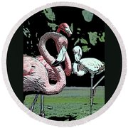 Flamingos II Round Beach Towel