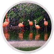Flamingos II Round Beach Towel