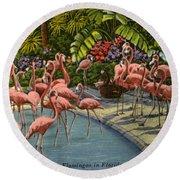 Flamingos Vintage Postcard Round Beach Towel