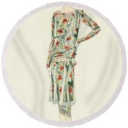 Flapper In An Afternoon Dress Round Beach Towel