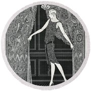 Flapper Opening A Curtain Round Beach Towel