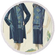 Flappers In Frocks And Coats, 1928  Round Beach Towel