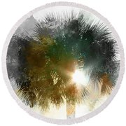 Flared Textured Palm Round Beach Towel
