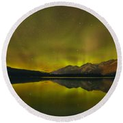 Flaring Northern Lights Round Beach Towel