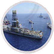 Flaring Operations Conducted Round Beach Towel by Stocktrek Images