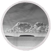 Flat Holm And Steep Holm Mono Round Beach Towel