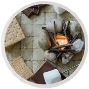 Flat Lay Camp Fire S'mores Deconstructed Round Beach Towel