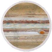 Flat Map Of Jupiter Round Beach Towel