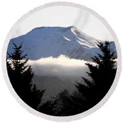 Flat Top Floating Through The Trees Round Beach Towel