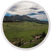 Flatirons From South Trails Round Beach Towel