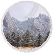 Flatirons From The South Boulder Colorado Round Beach Towel