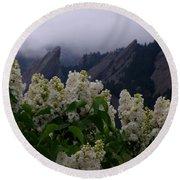 Flatirons White Lilacs Round Beach Towel
