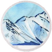 Flattop Through Ptarmigan Peak, Alaska Round Beach Towel