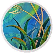 Flax Harakeke By Reina Cottier Round Beach Towel