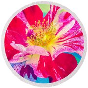 Fleurie Peppermint Rose High Key Round Beach Towel