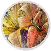 Fleurs De Lys 01 Round Beach Towel