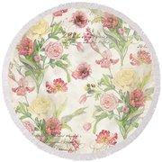 Fleurs De Pivoine - Watercolor In A French Vintage Wallpaper Style Round Beach Towel