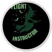 Flight Instructor Witch Halloween Costume Round Beach Towel