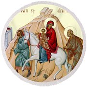 Flight Into Egypt Painting At Shepherds Field Round Beach Towel