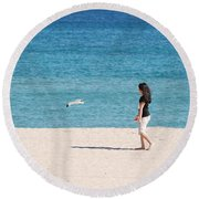 Flight Of The Angel Round Beach Towel