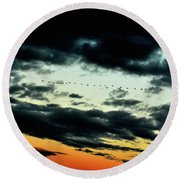 Flight Of The Geese Round Beach Towel