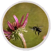 Flight Of The Mason Bee Round Beach Towel