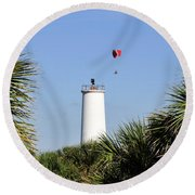 Flight Over Egmont Key Round Beach Towel